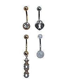 Clear CZ Love Belly Ring 4 Pack - 14 Gauge