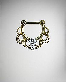 Ornate Filigree Septum Clicker - 16 Gauge