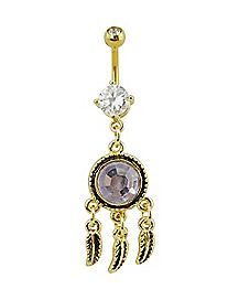 Lilac Stone Dream Catcher Dangle Belly Ring - 14 Gauge