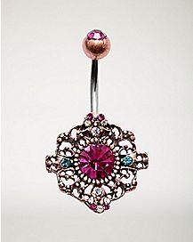 Pink Ornate Belly Ring - 14 Gauge