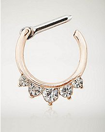 Rose Gold Cz Septum Clicker Ring- 14 Gauge