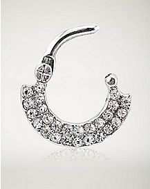Gem CZ Clicker Septum Ring - 14 Gauge