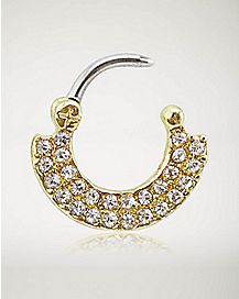 Gold Gem Clicker Septum Ring - 16 Gauge