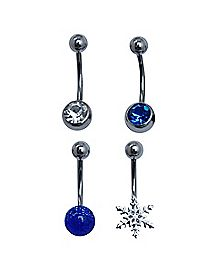 CZ and Snowflake Belly Ring 4 Pack - 14 Gauge