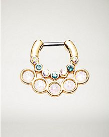Blue and AB Stone Clicker Septum Ring - 16 Gauge