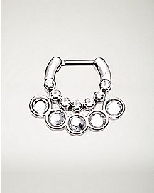 Clear CZ Clicker Septum Nose Ring - 16 Gauge