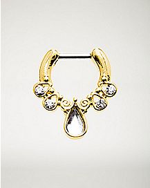 Ornate Teardrop Clicker Septum Ring - 16 Gauge