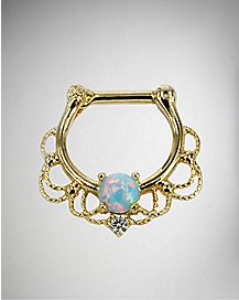 Ornate Opal-Effect Clicker Septum Nose Ring - 14 Gauge