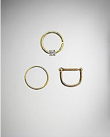 Gold Colored Multi Hoop 3 Pack - 18 Gauge