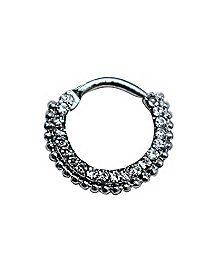 Ornate CZ Cartilage Clicker Ring- 16 Gauge