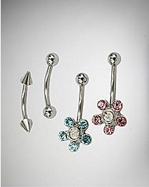 Cz Flower Curved Eyebrow Ring 4 Pack - 16 Gauge