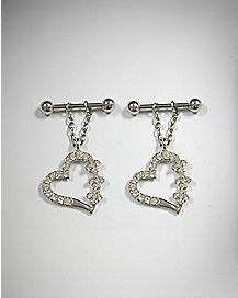 Heart Dangle Nipple Ring - 14 Gauge