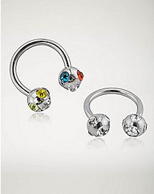 Rainbow CZ Captive Horseshoe Ring 2 Pack - 16 Gauge