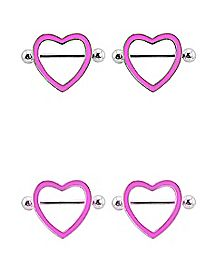 Glow in the Dark Heart Nipple Shields - 14 Gauge
