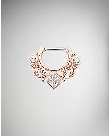 Rose Gold CZ Clicker Septum Ring - 16 Gauge