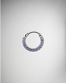 CZ Clicker Septum Nose Ring - 16 Gauge