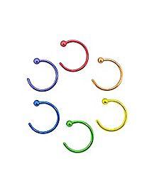 Rainbow Hoop Nose Rings 6 Pack- 20 Gauge