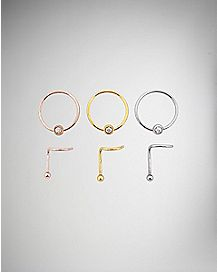 Nose Bone and Nose Ring 6 Pack- 20 Gauge
