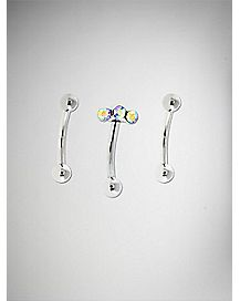 Cz Cluster Curved Eyebrow Ring 3 Pack- 16 Gauge