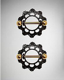 Black Ornate Nipple Shields 2 Pack - 14 Gauge
