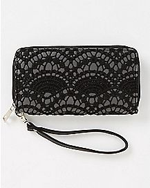 Black Lace Wristlet Zip Wallet