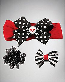 Skull Dot 3 Piece Baby Hair Set
