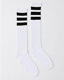 Black and White Stripe Knee High Socks