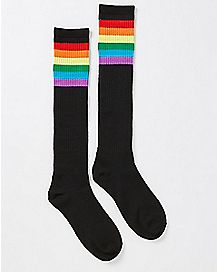 Athletic Rainbow Stripe Knee High Socks - Black
