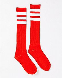 Red and White Stripe Knee High Socks