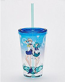 Sailor Uranus and Sailor Neptune Sailor Moon Cup with Straw - 19 oz.