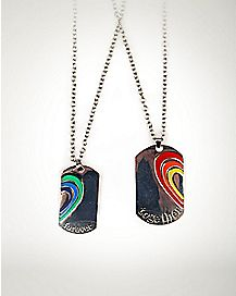 Rainbow Heart Together Forever Dog Tag Necklaces