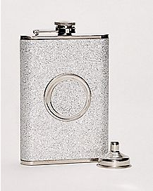 Silver Glitter Shot Glass and Flask Set - 8 oz.