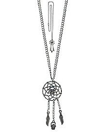 Skull Feathered Dream Catcher Necklace