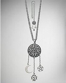 Pentagram Moon and Star Dream Catcher Necklace