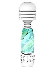 Mini Diamond Wand Vibrator Marble Teal - 4 Inch