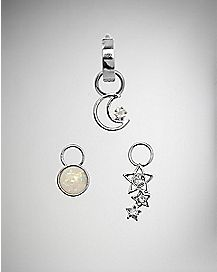 Moon Star Huggy Belly Ring 3 Pack - 14 Gauge