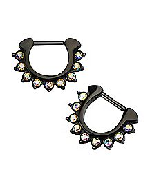 Black AB Stone Clicker Septum Ring - 16 Gauge