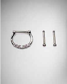 Clicker Septum Ring and Nose Stud 3 Pack - 14 Gauge
