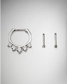 CZ Clicker Septum Ring and Nose Stud Ring 3 Pack - 14 Gauge