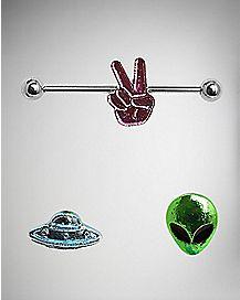 Interchangeable Alien Charm Industrial Barbell Ring - 14 Gauge