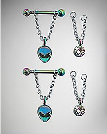 Interchangeable Alien Barbell Nipple Ring 4 Pack - 14 Gauge