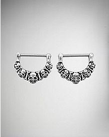 Skull Nipple Rings- 14 Gauge