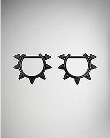 Stainless Steel Spiked Nipple Rings - 14 Gauge