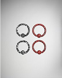 Red and Black Splatter Captive Hoop Rings 4 Pack - 14 Gauge