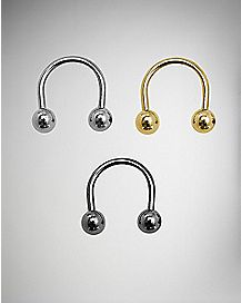 Horseshoe Septum Ring 3 Pack - 16 Gauge