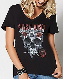 Skull and Rose T Shirt - Guns and Roses