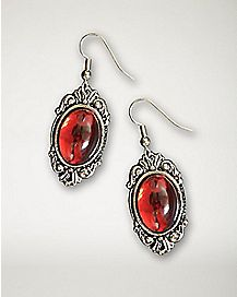 Red Cabochon Stone Earrings