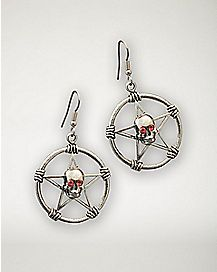 Pentagram Skull Earrings