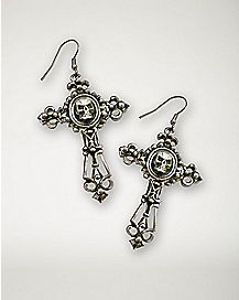 Filigree Cross Skull Earrings