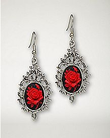 Rose Thorn Cameo Earrings